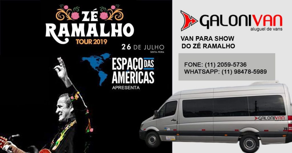 Aluguel de van para Show do Zé Ramalho em SP