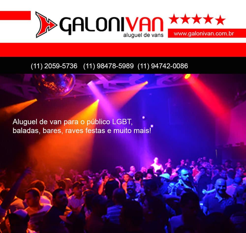 Aluguel de van para o público LGBT, baladas, bares, raves festas e muito mais!